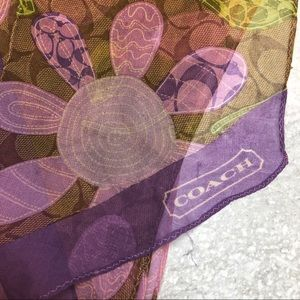 "Coach Signature floral light thin scarf 64"" mauve"